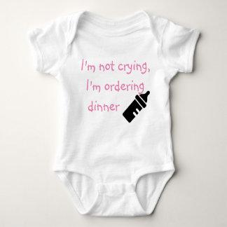 I'm Not Crying I'm Ordering Dinner pink Baby Bodysuit