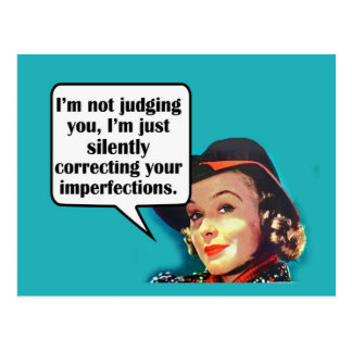 I'm Not Judging You... Retro Woman Post Cards