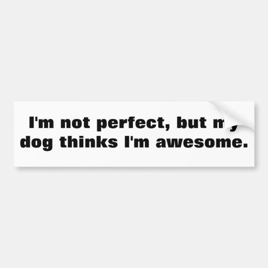 I'm not perfect, but my dog thinks I'm awesome. Bumper Sticker