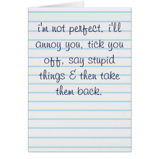 I'm not perfect greeting card