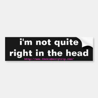 i'm not quite right in the head bumper sticker