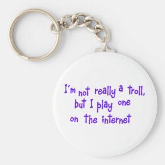 I'm not really a troll basic round button key ring