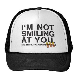 I'm not smiling at you - white print cap