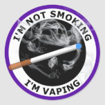 I'M NOT SMOKING I'M VAPING ROUND STICKERS