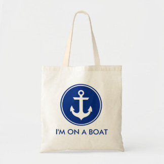 I'm on a Boat Nautical Blue Anchor Tote Bag