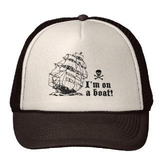 I'm on a boat! (tall ship, black) cap