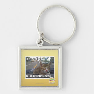 Im on ur dash Silver-Colored square key ring