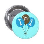 I'm One 1st Birthday Blue Balloon Gift Pinback Button