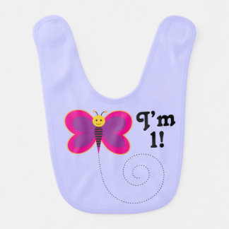 I'm One 1st Birthday Butterfly Baby Bib