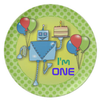 I'm ONE 1st Birthday Party Green Polka Dots Plates