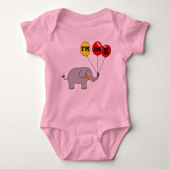 I'm one (baby elephant) baby bodysuit