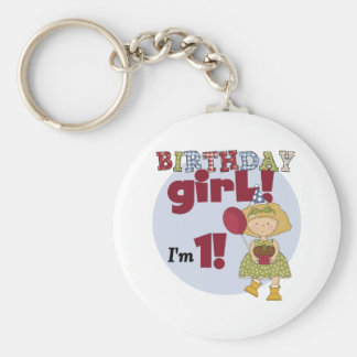 I'm One Birthday Girl Tshirts and Gifts Basic Round Button Key Ring