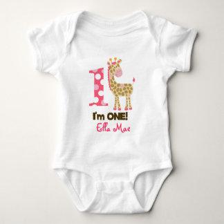 Im ONE Pink Giraffe 1st Birthday Creeper Bodysuit