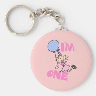 I'm One Stick Figure Girl Birthday Basic Round Button Key Ring