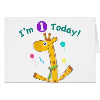I'm One Today - Giraffe Design Cards