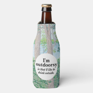 I'm Outdoorsy Lake & Woods Colored Pencil Drawing Bottle Cooler