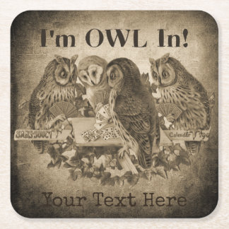 """I'm Owl In"" (All In) Funny Poker Night Square Paper Coaster"