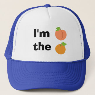 I'm peach the orange trucker hat