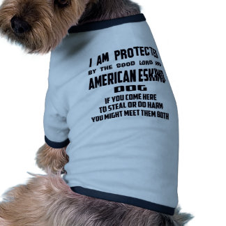 I'm protected by good lord and American Eskimo dog Ringer Dog Shirt
