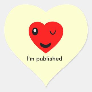 I'm published heart sticker