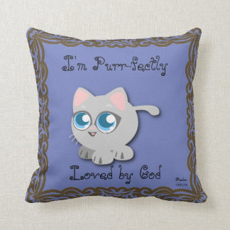 I'm Purr-fectly Loved by God Kitty Pillow