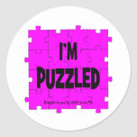 I'M PUZZLED - LOVE TO BE ME ROUND STICKER