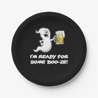 I'm Ready For Some Boo-ze Funny Ghost and Beer Paper Plate