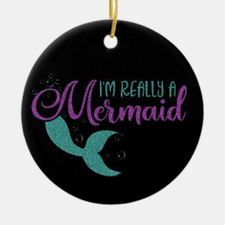 I'm really a Mermaid Purple Teal Glitter Texture Christmas Ornament