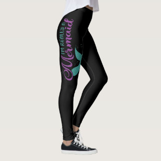 I'm really a Mermaid Purple Teal Glitter Texture Leggings