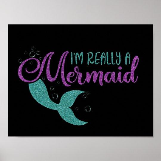 I'm really a Mermaid Purple Teal Glitter Texture