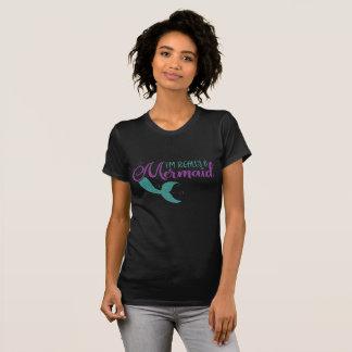 I'm really a Mermaid Purple Teal Glitter Texture T-Shirt