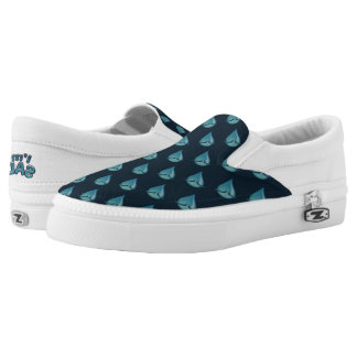 I'm Sad blue Slip Ons Printed Shoes