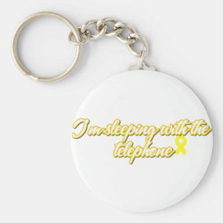 I'm Sleeping with the phone Basic Round Button Key Ring