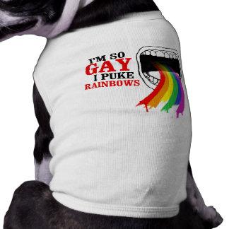 I'm so gay, I puke Rainbows Sleeveless Dog Shirt