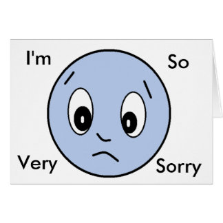 """Im Sorry"" Blue Sad Face Card"