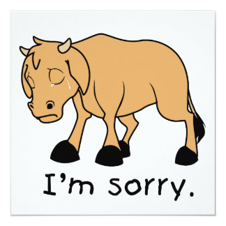 I'm Sorry Brown Crying Sad Weeping Calf Card Stamp 13 Cm X 13 Cm Square Invitation Card