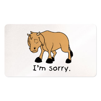 I'm Sorry Brown Crying Sad Weeping Calf Card Stamp Business Card