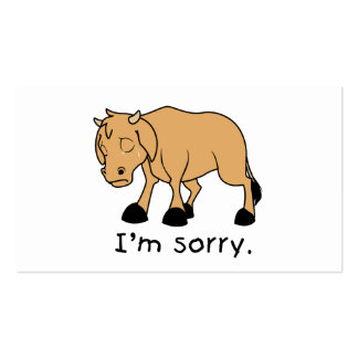I'm Sorry Brown Crying Sad Weeping Calf Card Stamp Business Card Templates