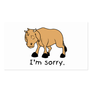 I'm Sorry Brown Crying Sad Weeping Calf Magnet Business Card Templates