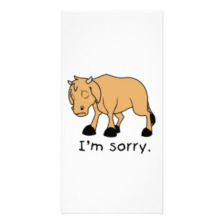 I'm Sorry Brown Crying Sad Weeping Calf Magnet Custom Photo Card