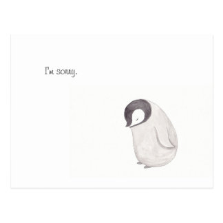 I'm Sorry Cute Penguin Post Card