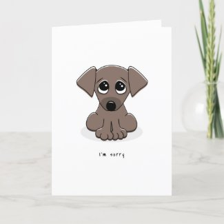 I'm sorry greeting card with cute, sad puppy dog
