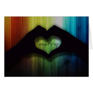 I'm Sorry Hand Hearts With Rainbow Lighted Wood Card