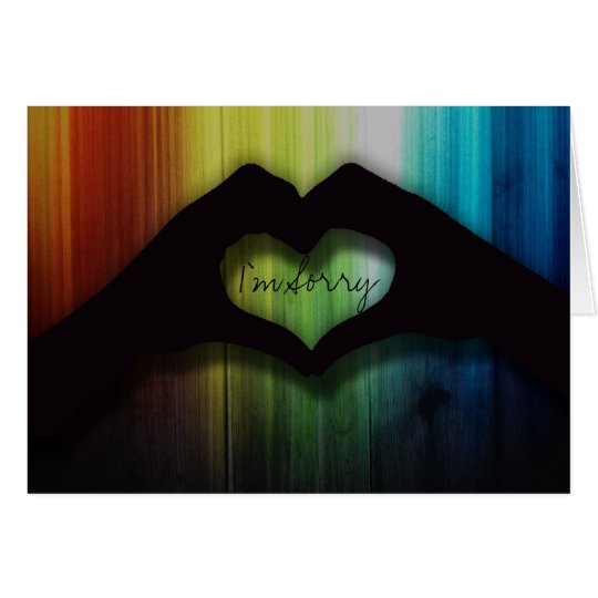 I'm Sorry Hand Hearts With Rainbow Lighted Wood
