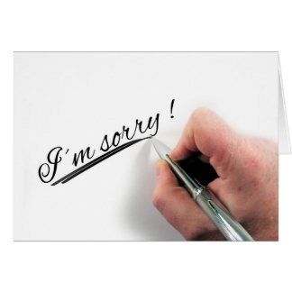 I'm Sorry Handwritten Pen Greeting Card