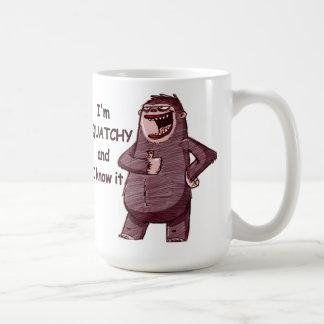 I'M SQUATCHY AND I KNOW IT - Funny Bigfoot Logo Basic White Mug