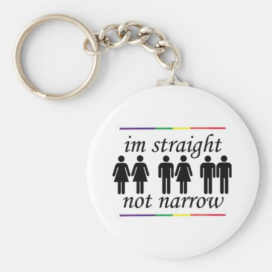 I'm Straight, Not Narrow Basic Round Button Key Ring