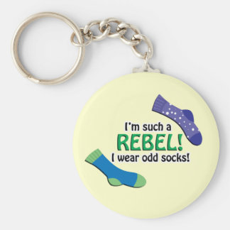 I'm such a rebel, I wear odd socks! Basic Round Button Key Ring