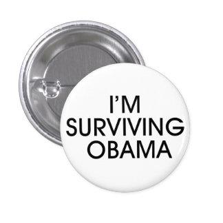 I'M SURVIVING OBAMA button-black ink 3 Cm Round Badge
