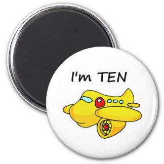 I'm Ten, Yellow Plane 6 Cm Round Magnet